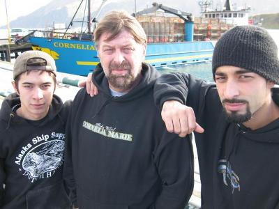 Deckhand Jake Harris, Captain Phil Harris, Greenhorn Joshua Harris